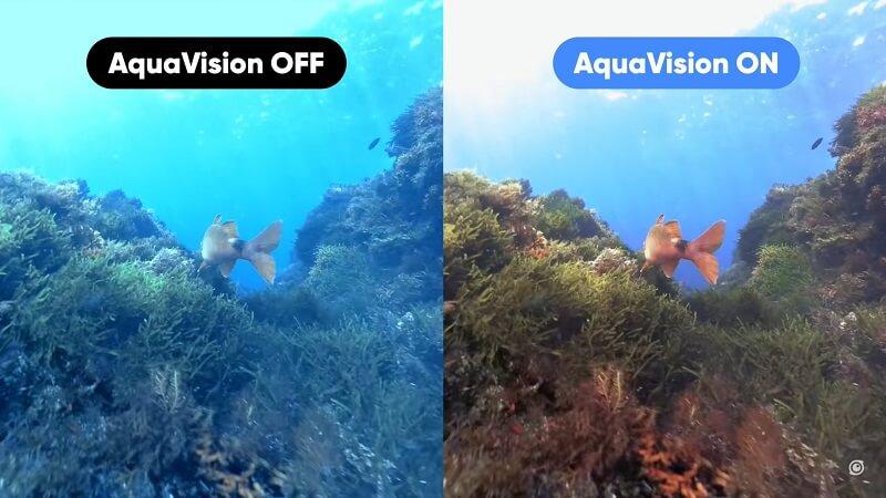 圖左:GO 2未開水下色彩還原 / 圖右:GO 2開啟水下色彩還原