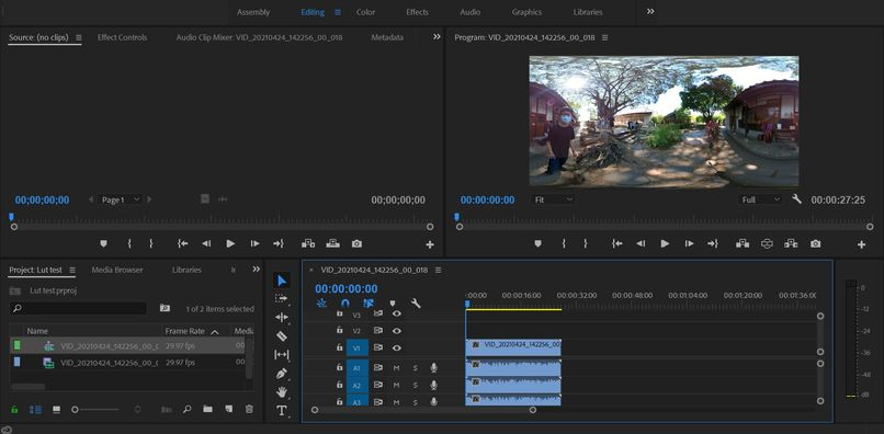 Premiere Pro開新專案,匯入360影片