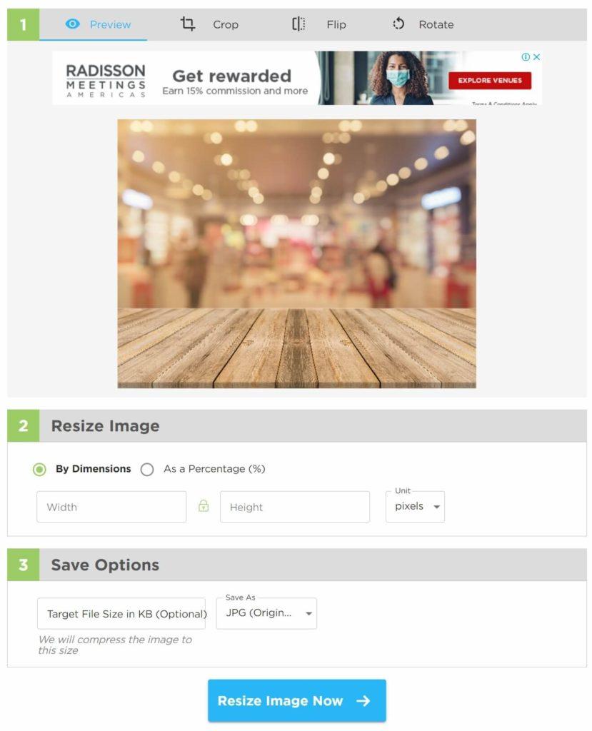 Image Resizer預覽及編輯照片